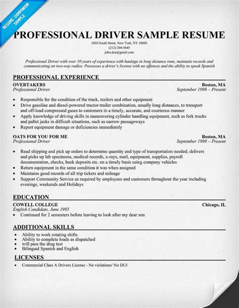 driver resume template professional driver sle resume resumecompanion