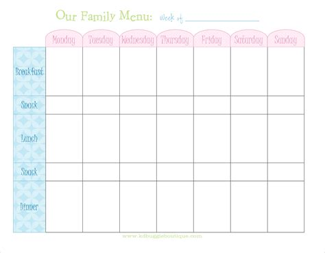 family menu planner template naturally creative freebie weekly menu planner