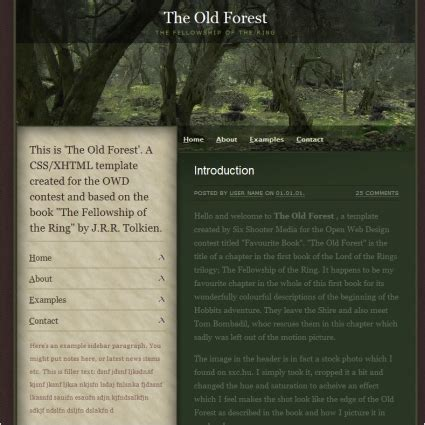 template forest free the forest template free website templates in css