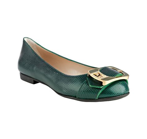 fendi flat shoes fendi green lizard embossed leather logo buckle flats in