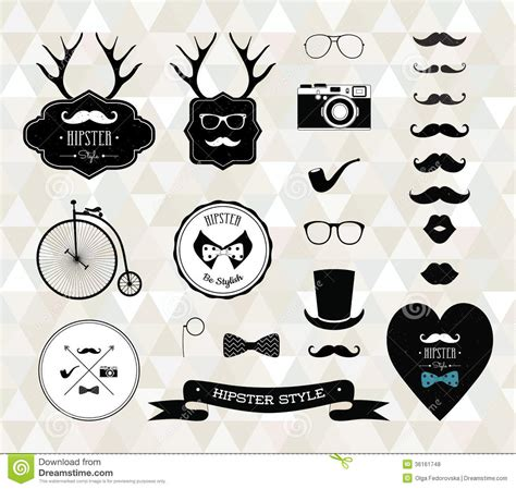 hipster design elements vector hipster style elements icons and labels royalty free