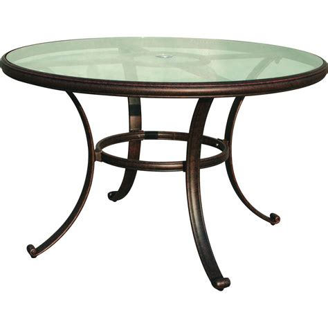 Darlee Classic 48 Inch Cast Aluminum Patio Dining Table Glass Top Patio Dining Table