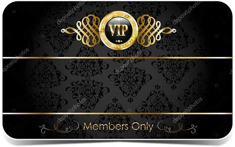 gold pattern card stock gold vip card with pattern stock vector elenabaryshkina