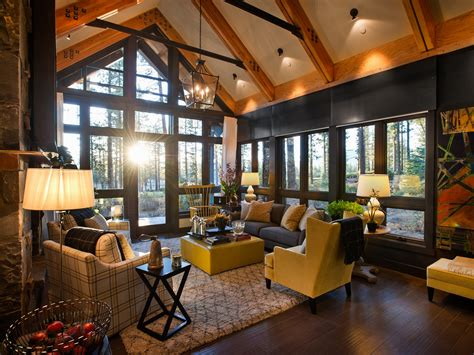 home living space rustic cabin living room decorating idea
