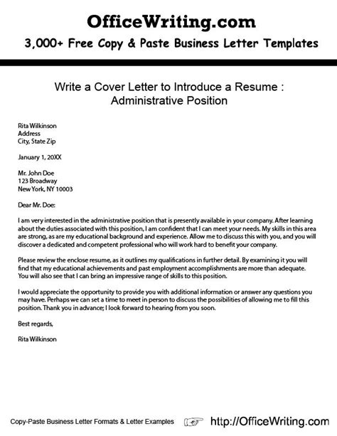 Cover Letter Template Copy Paste Write A Cover Letter To Introduce A Resume Administrative Position Http Officewriting