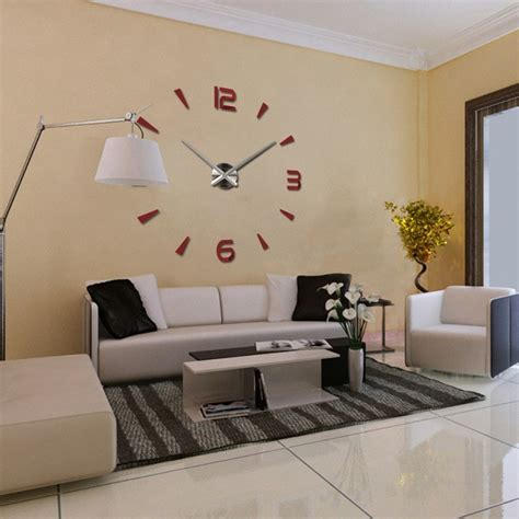 modern diy large 3d number mirror wall sticker big