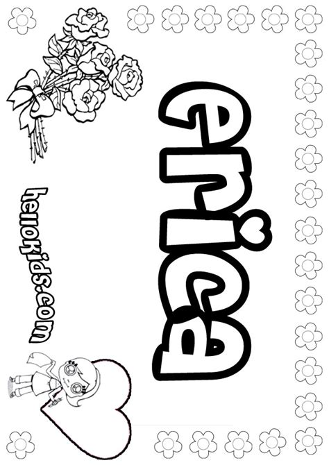 coloring pages for girl names girls name coloring pages erica girly name to color