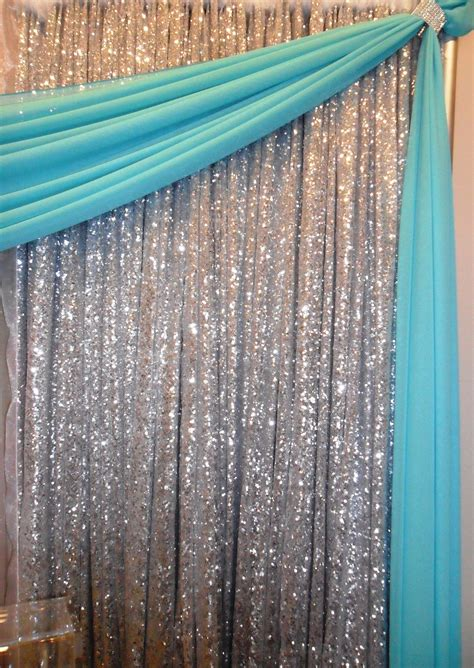 backdrop design sweet 17 silver sequin backdrop with tiffany blue draping http