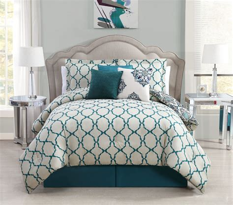 teal and gray comforter sets 7 piece queen vidara teal gray reversible comforter set
