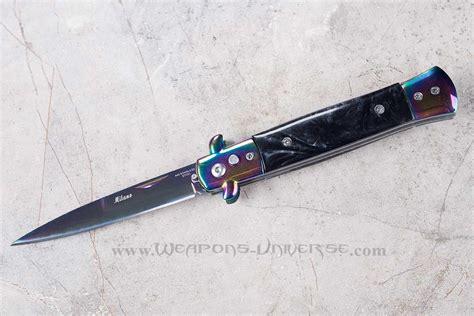 black switchblade knife black marble deluxe titanium switchblade automatic knife