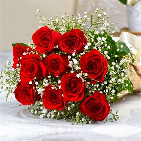 Christmas Tree Decorations Buy Ten Romantic Red Roses Bouquet Online At Best Price In
