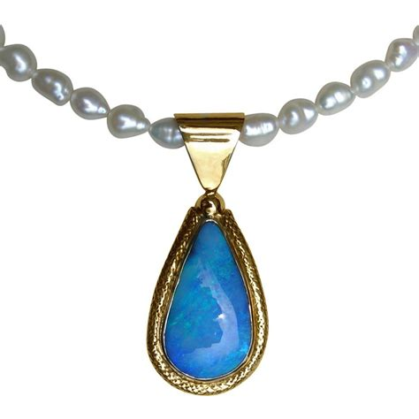 blue opal necklace blue boulder opal pendant 18k handmade opal jewelry