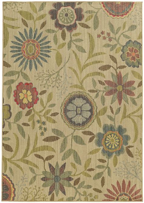 contemporary floral area rugs bahama beige circles leaves petals buds contemporary area rug floral 1330w ebay