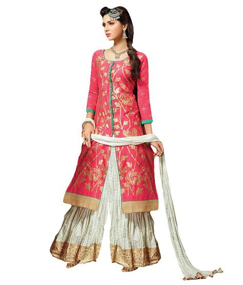 girls dess plazo dess photo suchi fashion pink cream chanderi dress material with