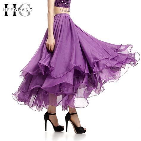 pleated chiffon maxi skirt 2017 summer ankle length hee grand new trendy style summer ruffles skirts 2017 fashion ankle length pleated