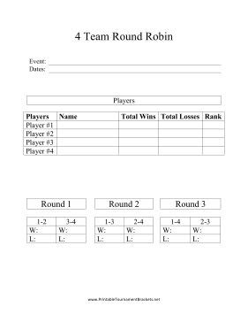 Winner And Loser Bracket Template by This Printable Robin Tournament Bracket Can Be Used