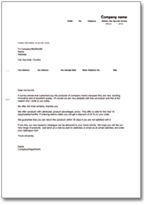 Musterbrief Angebot Machen allgemeiner werbebrief de musterbrief