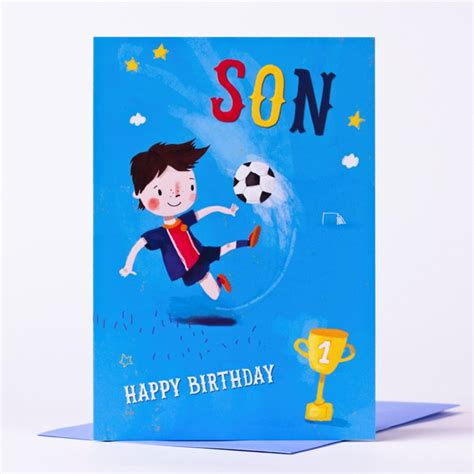 Birthday Cards For On Birthday Card Happy Birthday Son Football Character