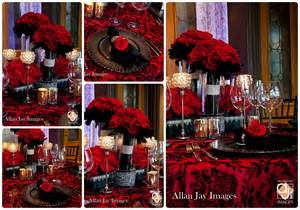 Cheap Table Linen Rentals - red black and silver wedding receptions quotes