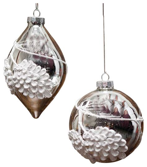 silver frost pinecone glass ornament set of 2 ball and