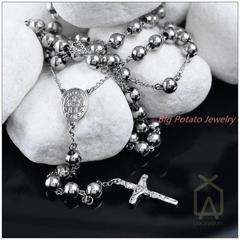 cadenas de plata para hombre rosario compra cadena de plata del grano del rosario collares