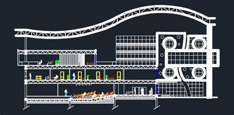 school  convention center  dwg design plan