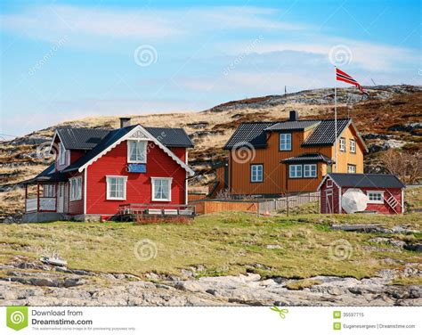 Coastal Cottage Plans norwegian village with colorful wooden houses royalty free