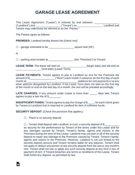 Free Garage Parking Rental Lease Agreement Template Word Pdf Eforms Free Fillable Forms Parking Lot Rental Agreement Template