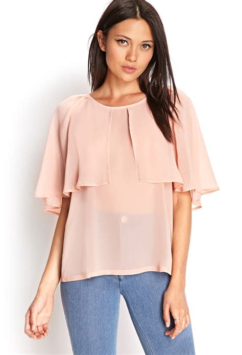 cappe best forever 21 cape sleeve woven top in orange lyst