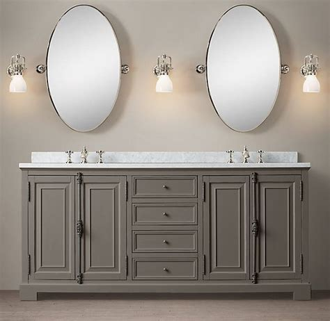 bathroom vanity restoration hardware french casement double vanity sink with carrera marble top
