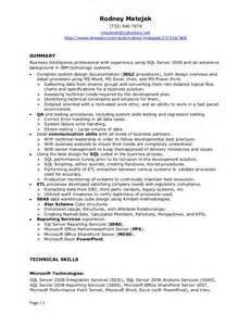 Business Intelligence Developer Sle Resume by Resume Rodney Matejek Bi Professional