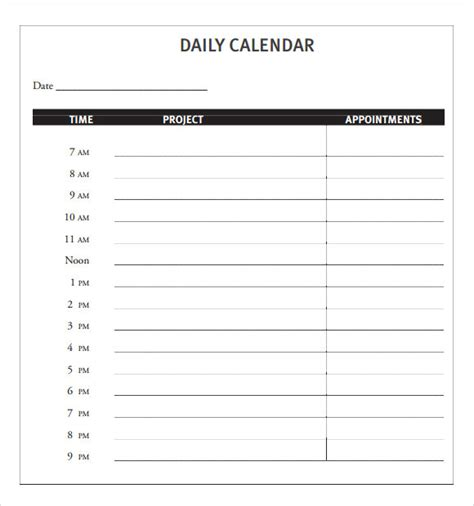 daily calendar printable word daily calendar template e commercewordpress
