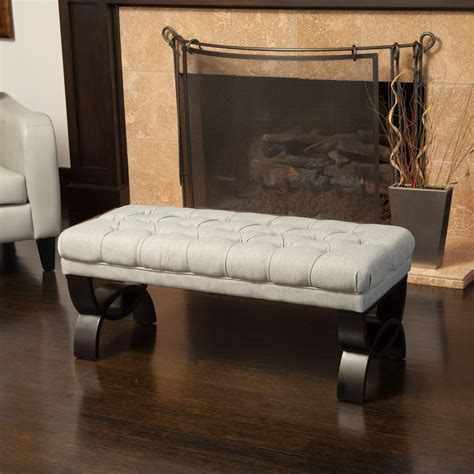 Living Room Furniture Bench Living Room Furniture Tufted Fabric Ottoman Bench W Crossed Legs Ebay