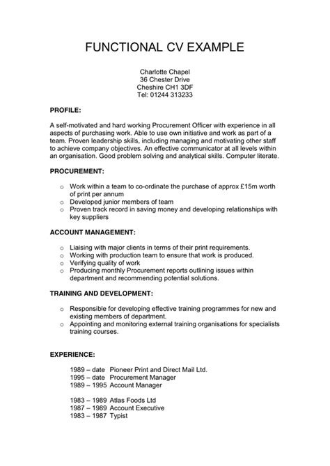 functional cv exle in word and pdf formats