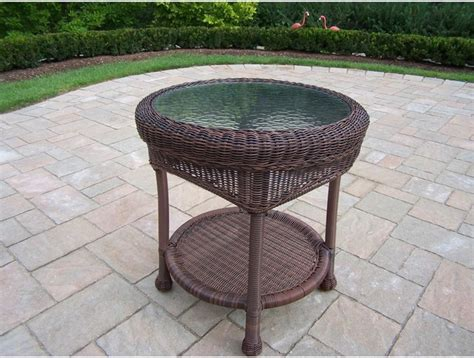 resin wicker side table oakland living resin wicker patio end table with glass top