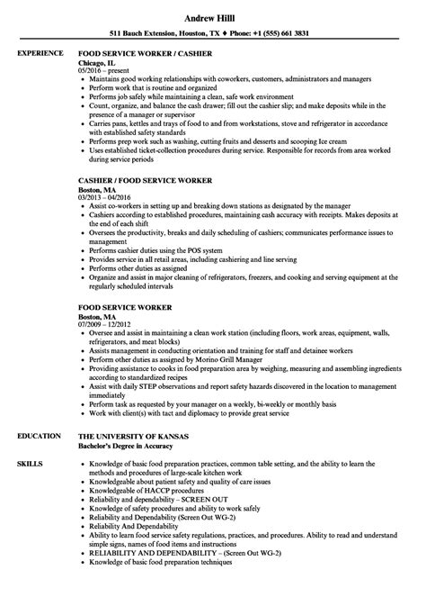 professional background food service resume template skills