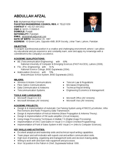 Resume Sample Objectives For Fresh Graduates by Fresh Telecom Engineer Cv