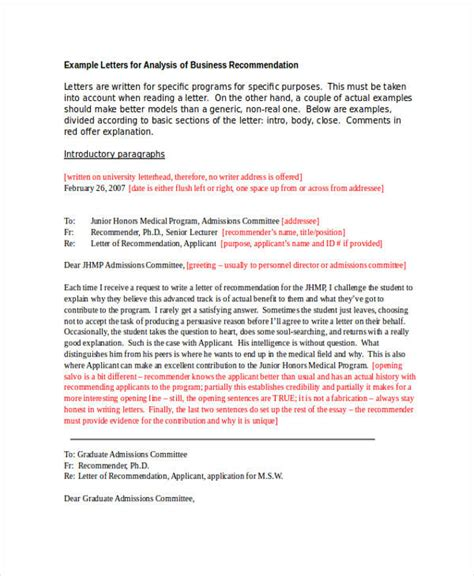 Letter Of Reference Business Analyst unique exle of a letter of recommendation how to