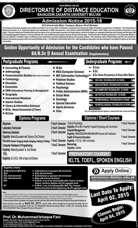 Admission Into Education Program Acceptance distance education program bzu multan 2017 admission form