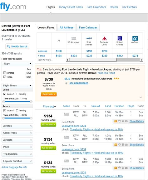 Fly Fare Calendar 134 141 Detroit To Fort Lauderdale Roundtrip Incl