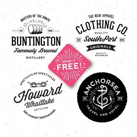 retro logo template psd 10 sets of free retro vintage style badge templates