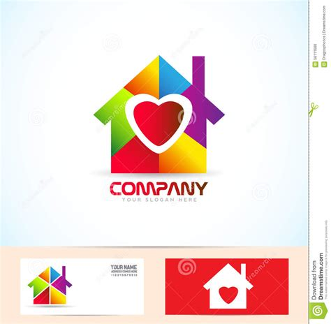 heart house real estate house family logo stock vector image 56111680