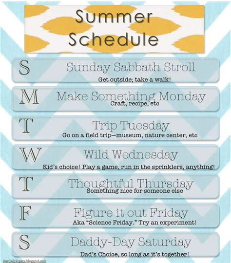 summer c schedule template our daily legacy summer schedule