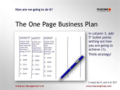 5 page business plan template one page business plan