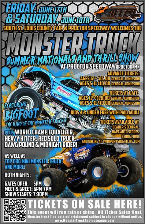 bigfoot monster truck schedule monster truck racing league featuring bigfoot perfect