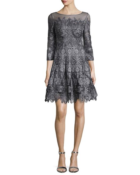 3 4 Sleeve Lace A Line Mini Dress lyst unger 3 4 sleeve lace a line cocktail dress in gray