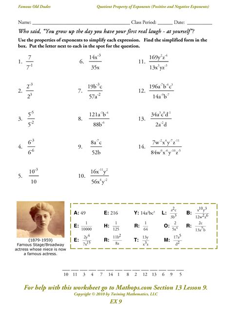 Properties Of Exponents Worksheet Answers by Pictures Properties Of Exponents Worksheet Dropwin