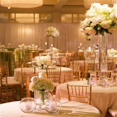 White Hydrangea Centerpieces Alternating High And Low High Wedding Centerpieces