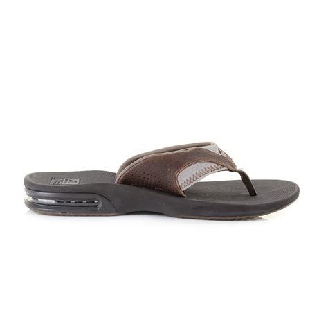 premium comfort slippers mens reef leather fanning brown brown grey premium comfort