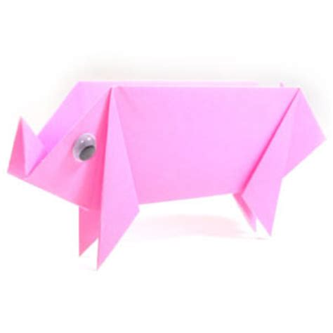 Easy Origami Pig - how to make a traditional origami pig page 10
